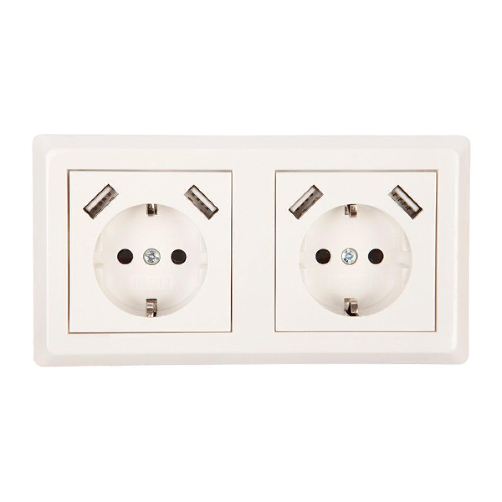 USB Stopcontact dubbel Exclusive 1 pack + raamwerk