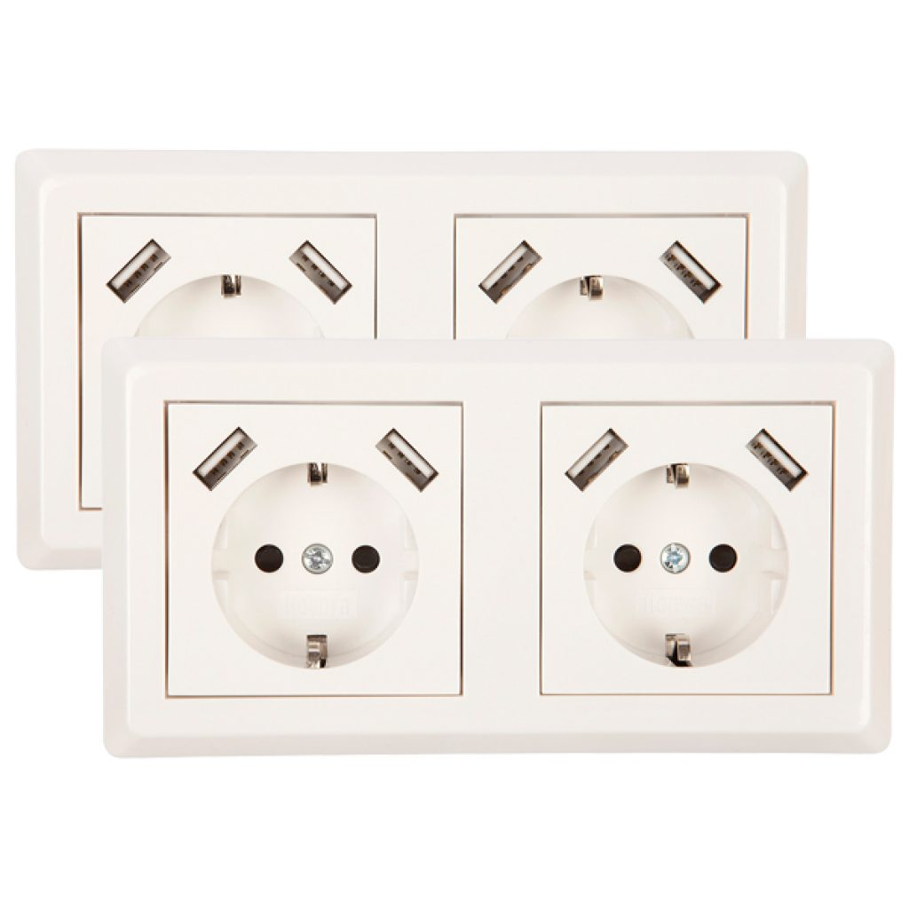 USB Stopcontact dubbel Exclusive 2 pack + raamwerk