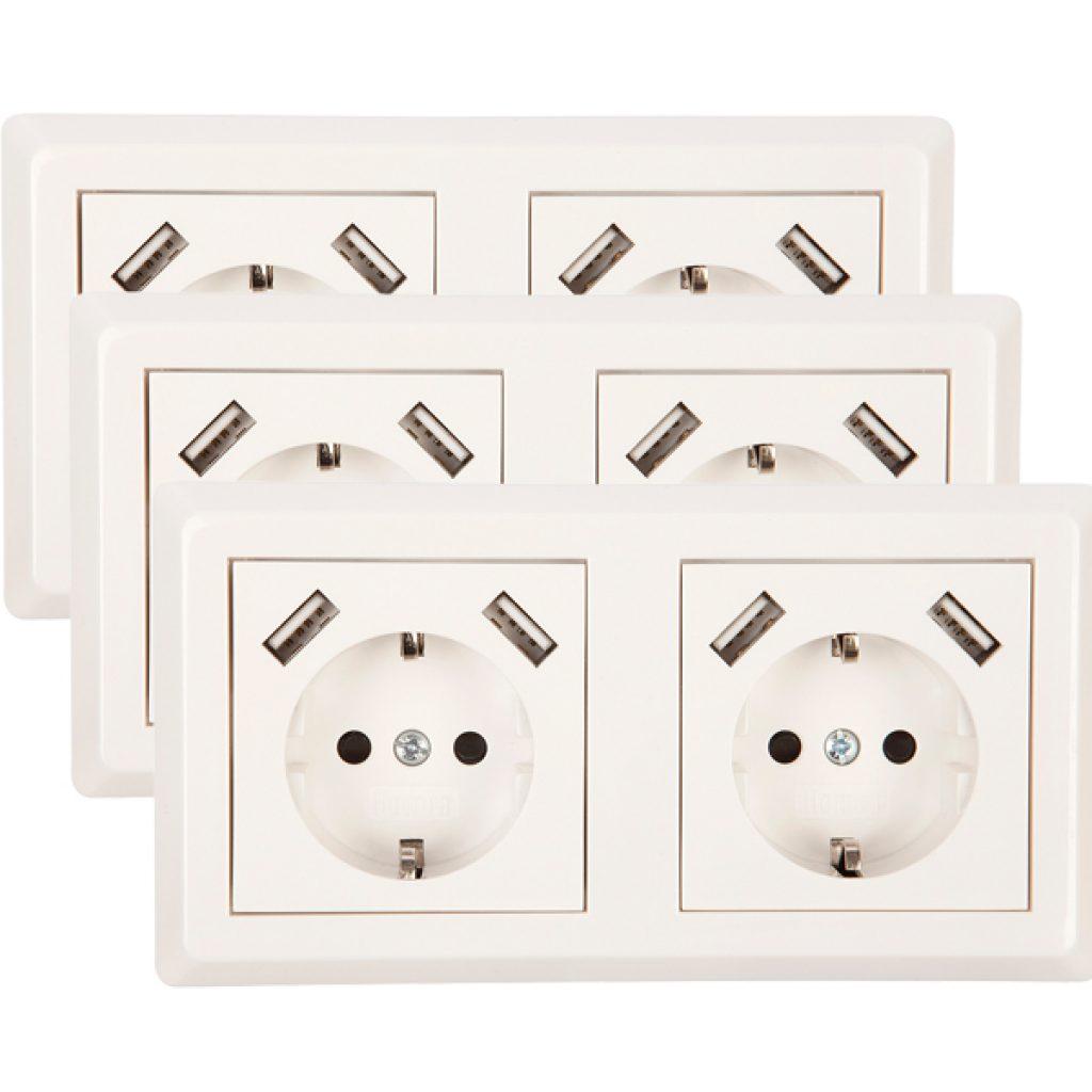 USB Stopcontact dubbel Exclusive 3 pack + raamwerk