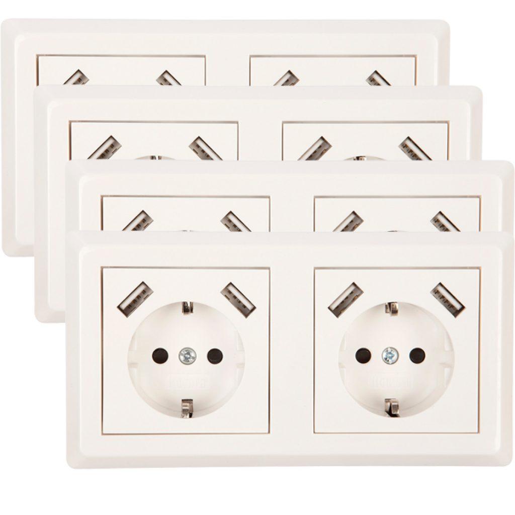 USB Stopcontact dubbel Exclusive 4 pack + raamwerk
