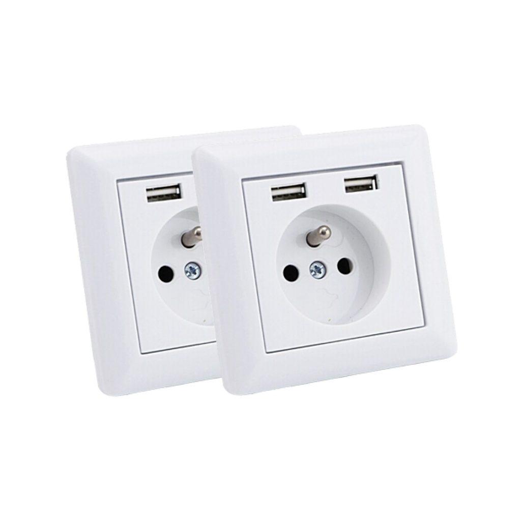 USB STOPCONTACT MET PENAARDE ENKEL 2 PACK