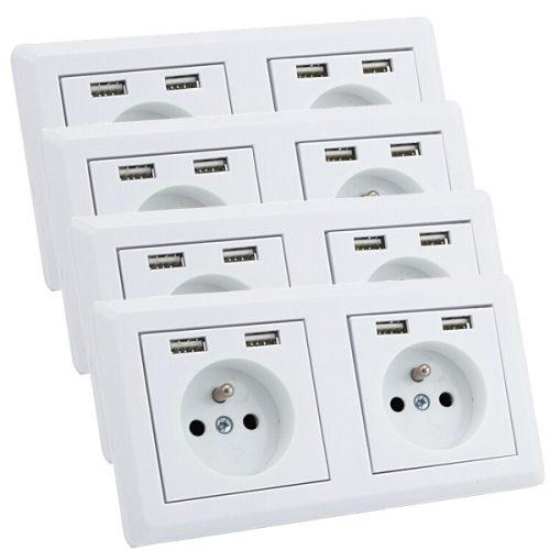 USB stopcontact dubbel met penaarde 4 pack